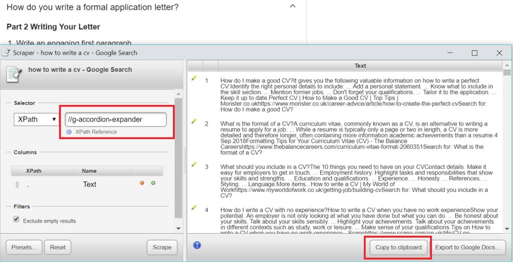 Google Scraper for Chrome Example